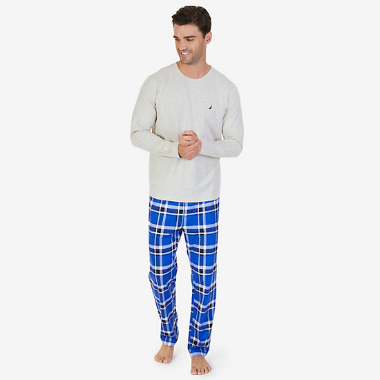 Plaid Knit Pajama Set - Oatmeal
