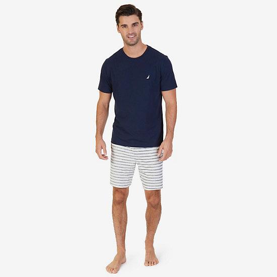 Solid Tee & Striped Pajama Short Set,Navy,large