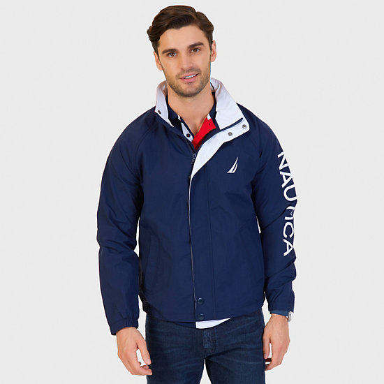 Water Resistant J Class Jacket,Navy,large