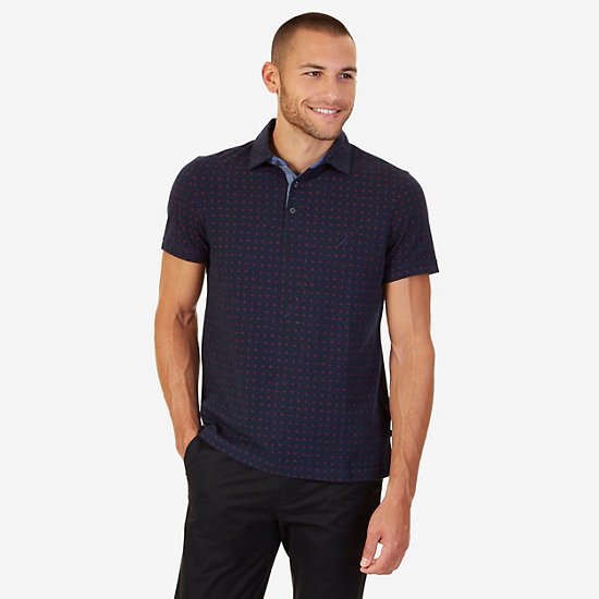 Nautica Slim Fit Anchor & Dot Print Polo Shirt,True Navy,large