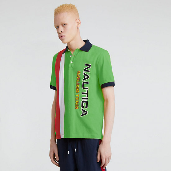The Lil Yachty Collection by Nautica Color Block Polo Shirt - Lime Surf
