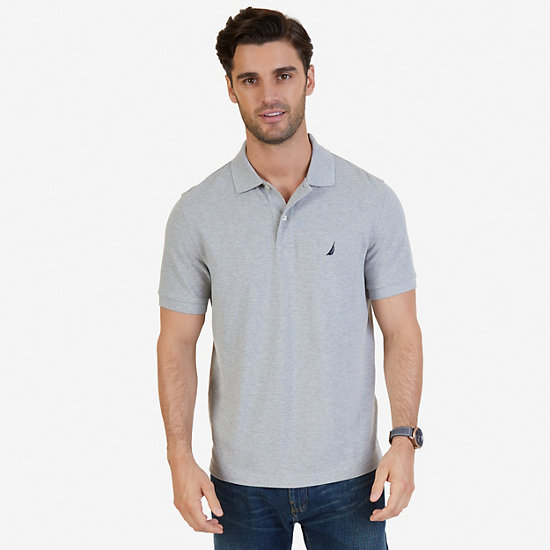 Solid Pique Classic Fit Deck Polo Shirt - Grey Heather