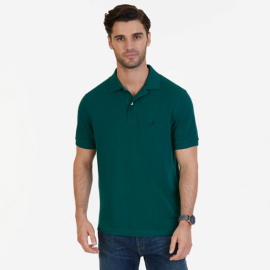 Solid Pique Classic Fit Deck Polo Shirt - Cruise Green