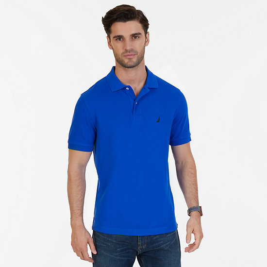 Solid Pique Deck Polo Shirt - Bright Cobalt