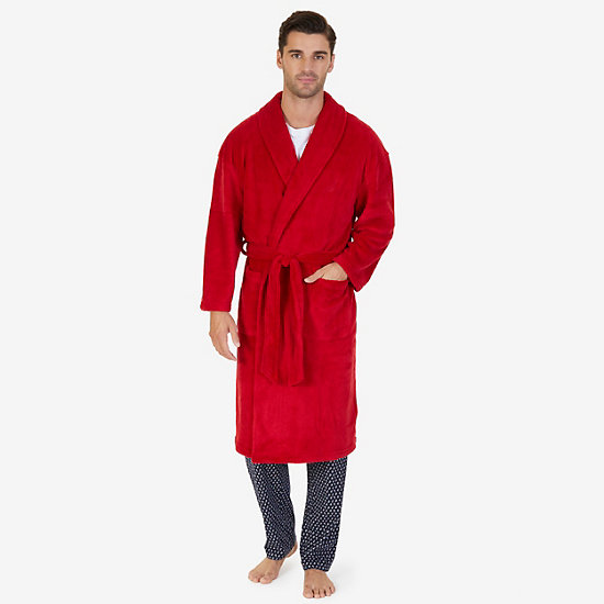 Plush Shawl Collar Robe - Nautica Red