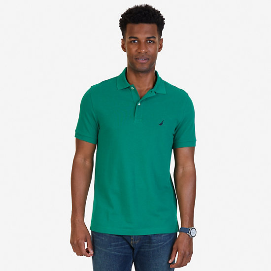 Short Sleeve Slim Fit Solid Deck Polo - Verdant Green