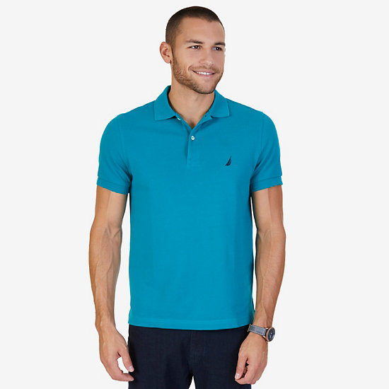 Short Sleeve Slim Fit Solid Deck Polo - Dark Dill