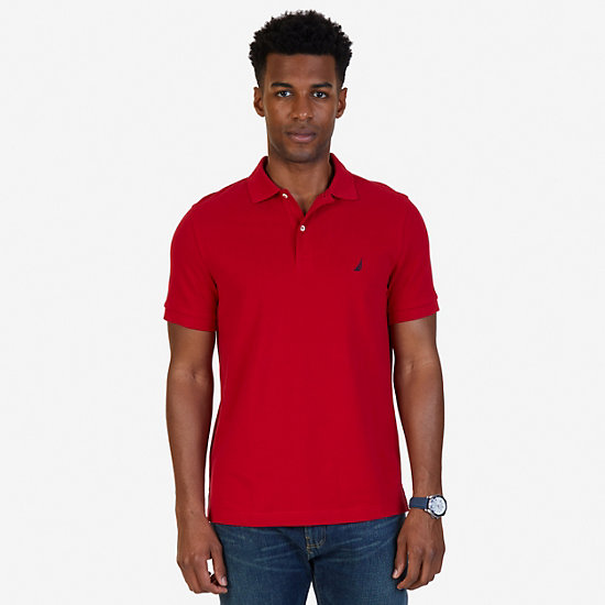 Short Sleeve Slim Fit Solid Deck Polo - Nautica Red