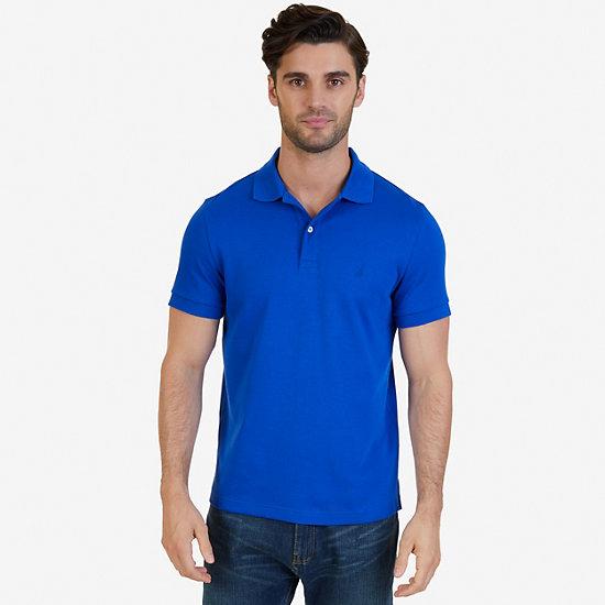Short Sleeve Slim Fit Solid Interlock Polo - Bright Cobalt