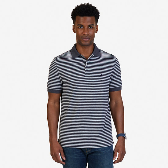 Classic Fit Striped Polo Shirt - Charcoal Hthr