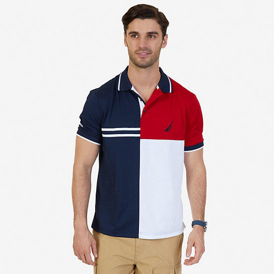Classic Fit Pieced Color Blocked Performance Polo Shirt - Navy