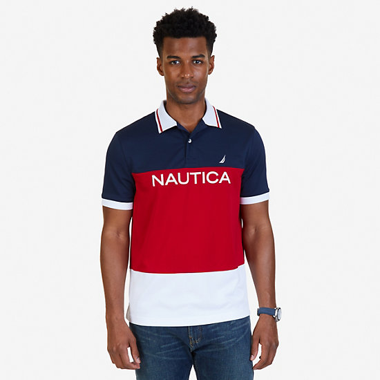 Classic Fit Color Block Wicking Polo Shirt - Nautica Red