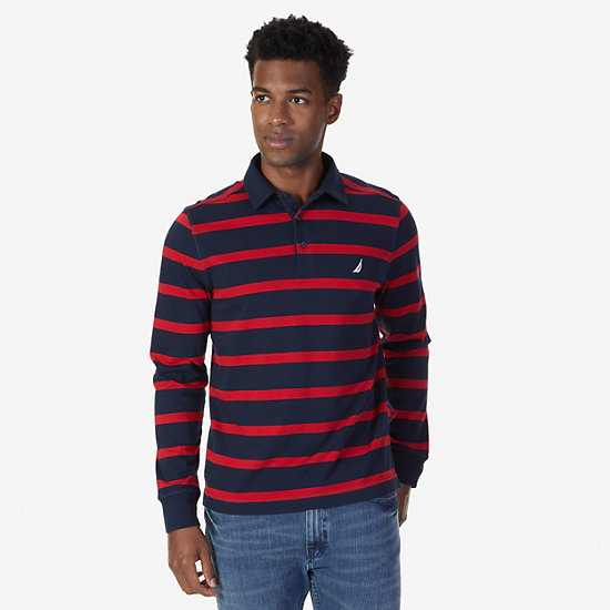Classic Fit Striped Long Sleeve Polo Shirt - Navy