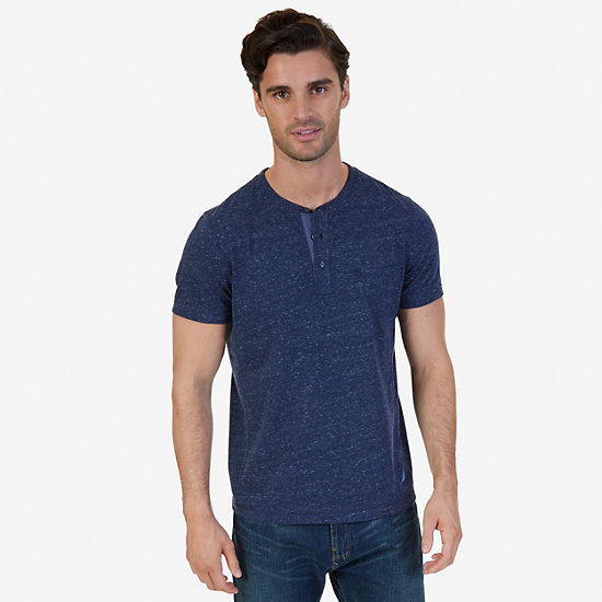 Slim Fit Henley Shirt,Navy,large