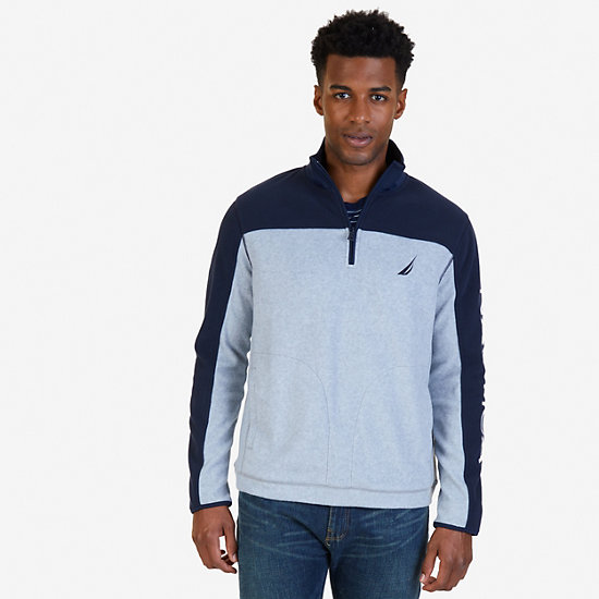 Quarter Zip Blocked Nautex Fleece - Grey Heather