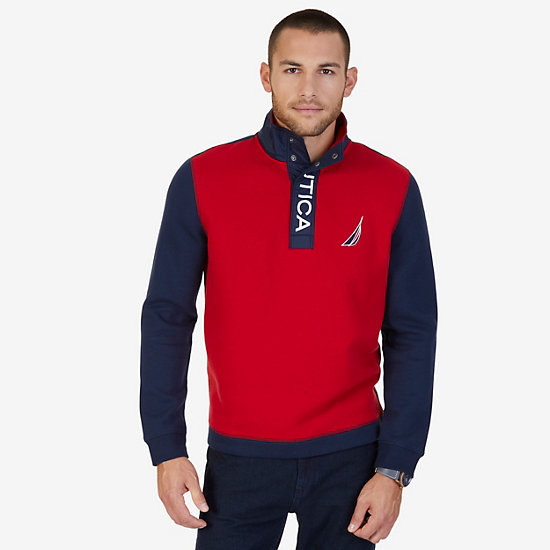 Half Snap Mock Neck Long Sleeve Top - Nautica Red