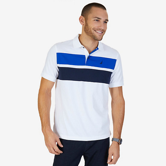 Classic Fit Chest Stripe Polo Shirt,Bright White,large
