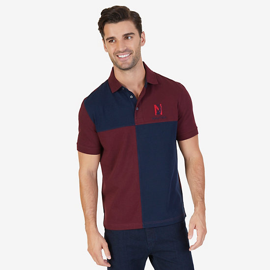 Classic Fit Colorblocked Grid Logo Polo Shirt - Royal Burgundy