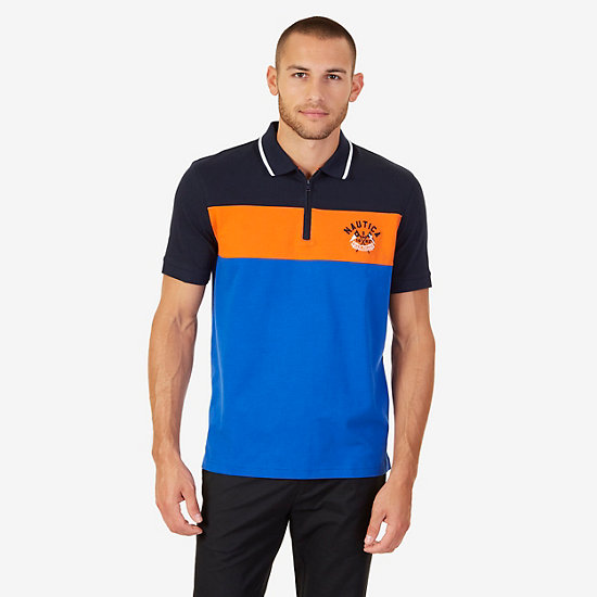 Classic Fit Colorblock Logo Polo Shirt - Bright Cobalt
