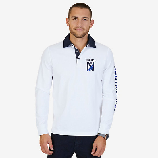 Classic Fit Long Sleeve Logo Polo Shirt - Bright White