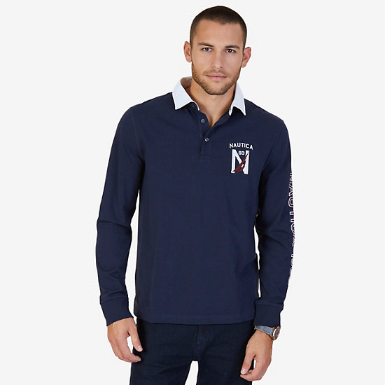 Classic Fit Long Sleeve Logo Polo Shirt - Navy