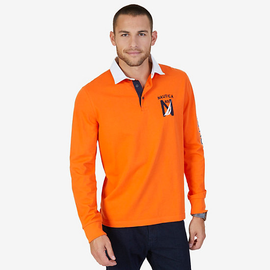 Classic Fit Long Sleeve Logo Polo Shirt - Mack Orange