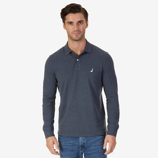 Classic Fit Long Sleeve Polo Shirt - Charcoal Hthr
