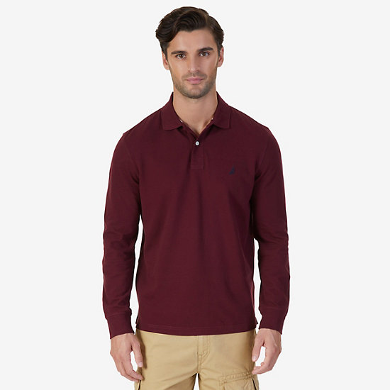 Classic Fit Long Sleeve Polo Shirt - Royal Burgundy