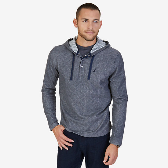 French Rib Henley Hoodie - Charcoal Hthr