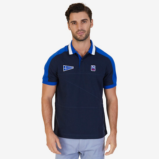 Classic Fit Short Sleeve Color Block Polo - True Navy