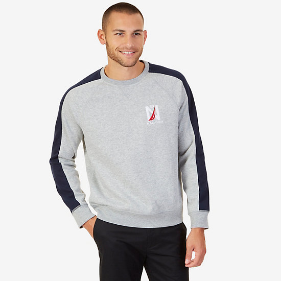 Colorblock Raglan Pullover - Grey Heather