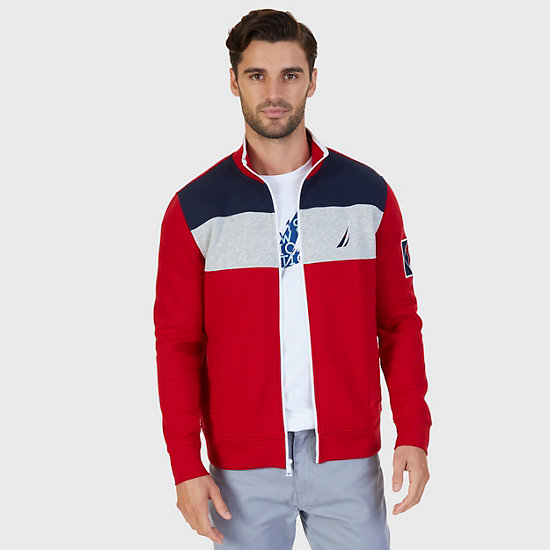 Pieced Stripe Track Jacket - Nautica Red