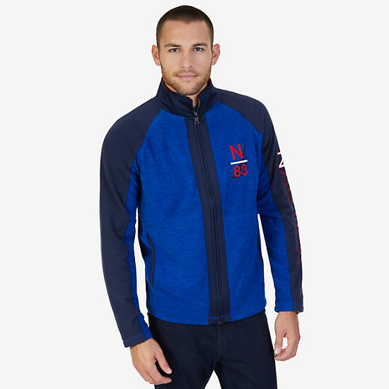 Nautex Fleece Logo Zip Jacket - Bright Cobalt