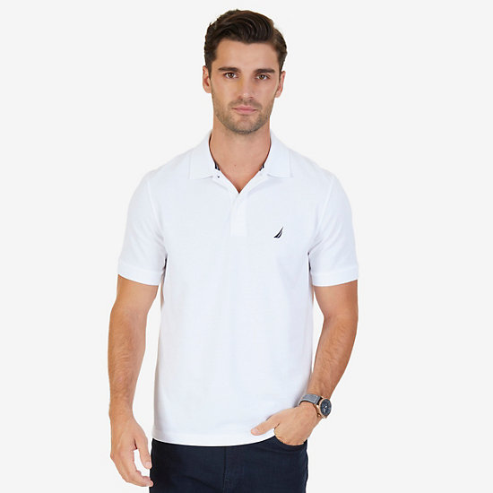 Classic Fit Cooling Performance Polo Shirt - Bright White