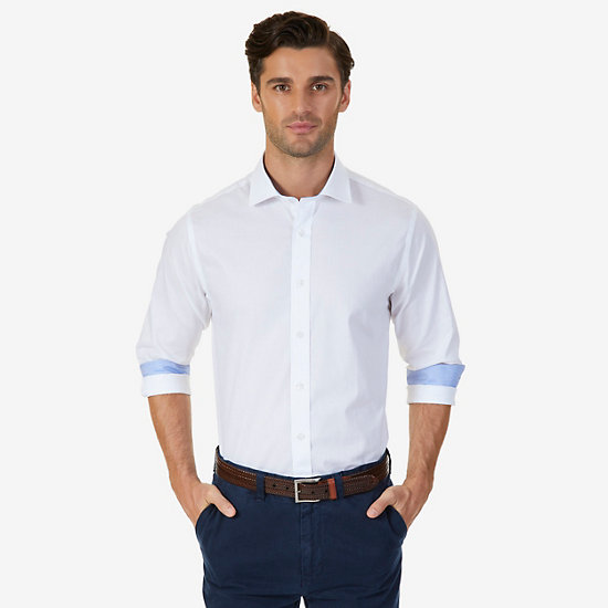 White Poplin Classic Fit Iron-Free Dress Shirt - Chinchilla