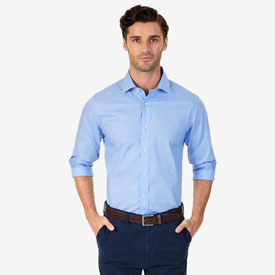 Iron-Free Solid Poplin Classic Fit Dress Shirt - Blue Moon