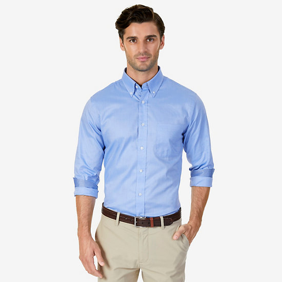 Classic Fit Solid Oxford Iron-Free Dress Shirt - Silver Lake Blue