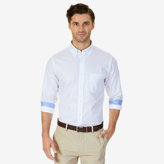 Iron-Free Solid Oxford Classic Fit Dress Shirt - Sand Dune