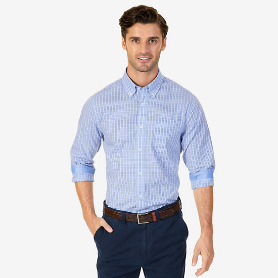 Wrinkle Resistant Classic Fit Plaid Button Down - Nautica Blue