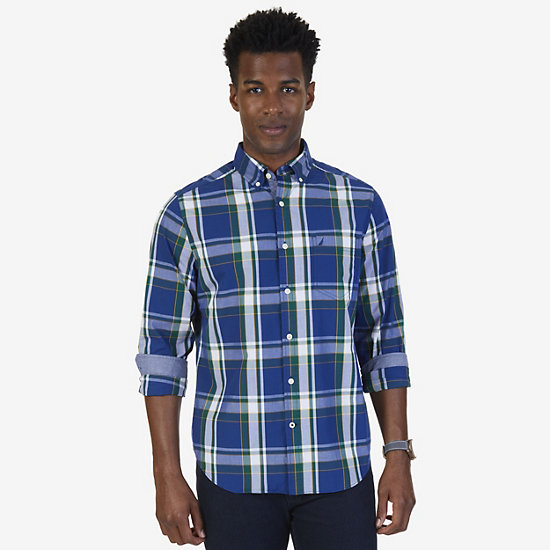 Big & Tall Classic Fit Plaid Button Down - Estate Blue