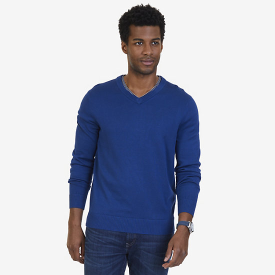 Big & Tall V-Neck Pullover Sweater - Estate Blue