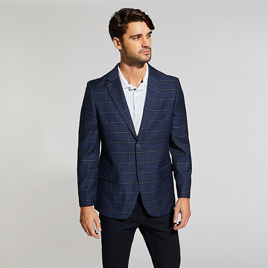BRANFORD WINDOWPANE STRETCH BLAZER IN NAVY - Tugboat Blue