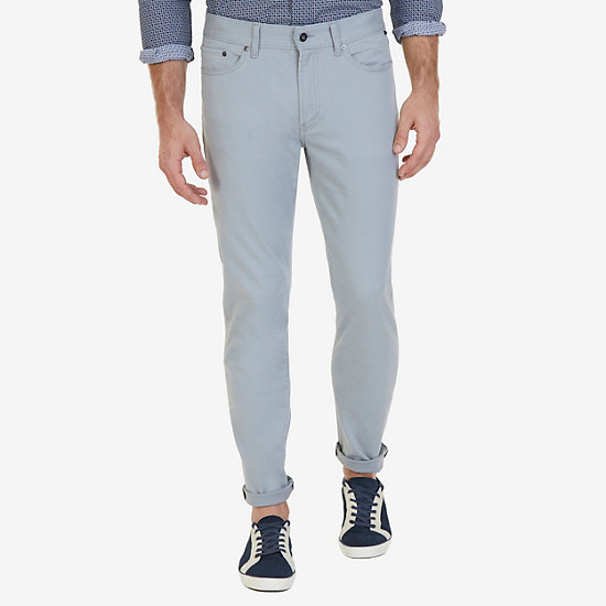 Straight Fit 5-Pocket Stretch Twill Pants - Bay Grey