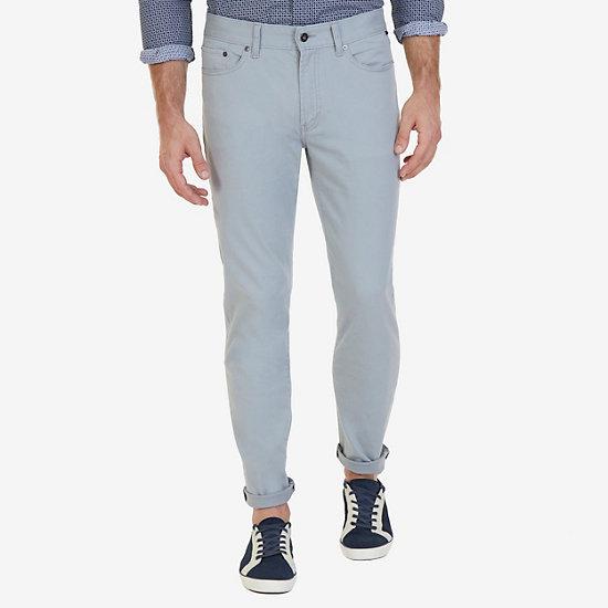 Straight Fit 5-Pocket Stretch Twill Pants - Bay Grey