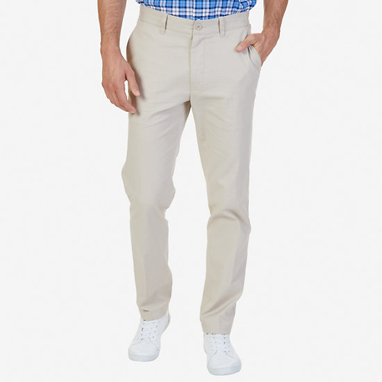 Stretch Twill Slim Fit Flat Front Pants - True Stone