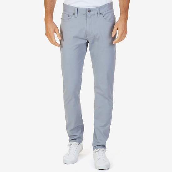 Slim Fit Stretch Twill 5-Pocket Pants - Radial Grey