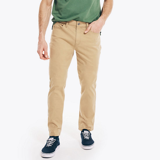 Slim Fit Stretch Twill 5-Pocket Pants - Raw Umber