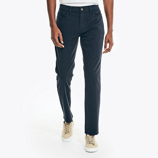 Slim Fit Stretch Twill 5-Pocket Pants - Navy