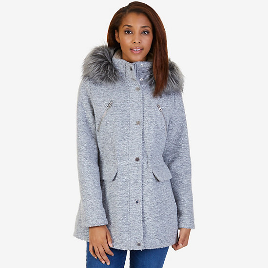 Faux Fur Hooded Anorak - Frost Grey Pant