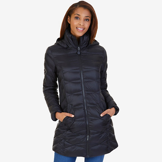 Lightweight Puffer Coat,True Black,large